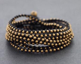Black Stud Brass Wrap Bracelet Anklet