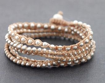 Nude Boho Rock Wrap Silver Bracelet Necklace
