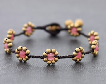 Daisy Rose Quartz Braided Bracelet