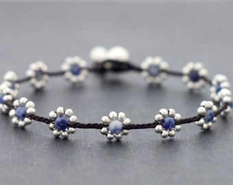 Sodalite Daisy Silver Braided Anklet