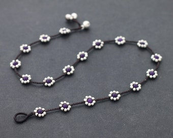 Purple Flower Braided Silver Necklace