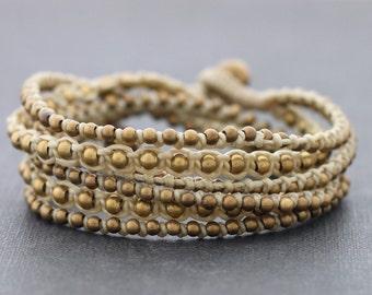 Ivory Boho Rock Warp Brass Bracelet Necklace