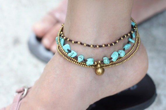 Turquoise Brass Chain Anklet