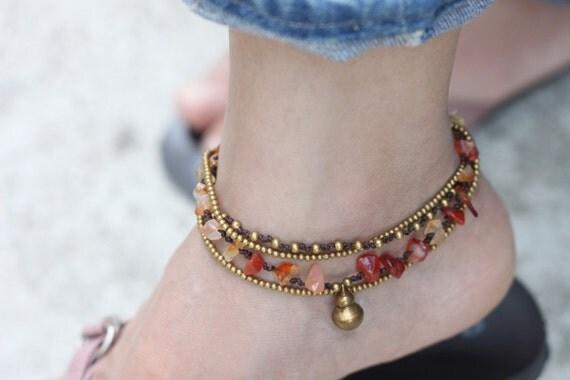 Beaded Woven Anklets Carnelian Brass Chain Strand