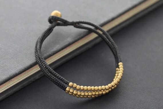 3 Strand Brass Bead Bracelet