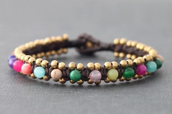Colorful Dotty Dyed Jade Bracelet