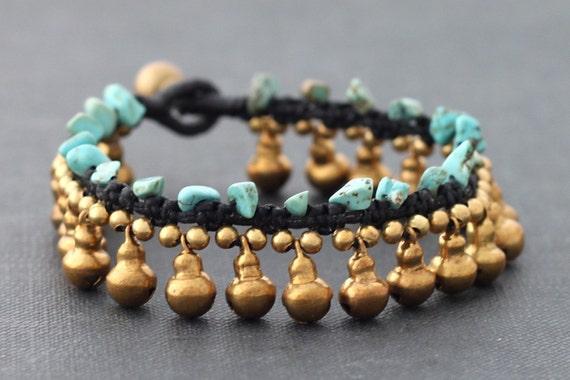 Water Drop Turquoise Brass Bracelet