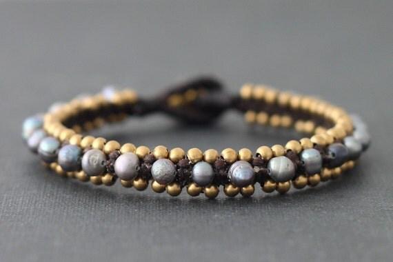 Smoky Pearl Woven Bracelet