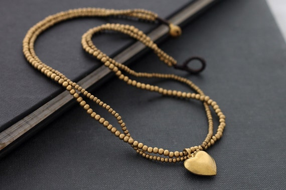 Heart Charm Double Strand Necklace