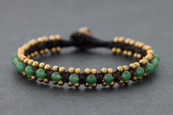 Jade Beaded Cuff Bracelet
