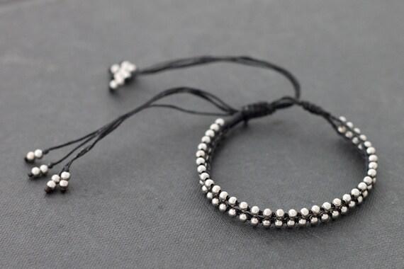 Adjustable Black Silver Bracelet