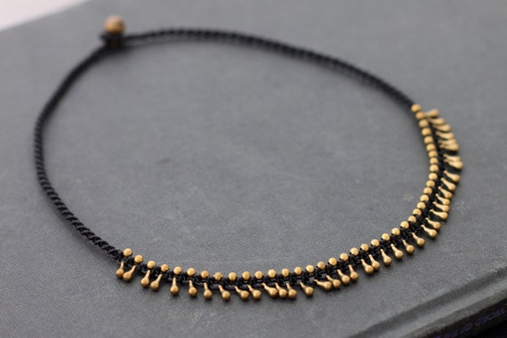 Teardrop brass Woven Necklace