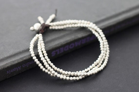 Three Strand Simple Silver Beaded Bracelet