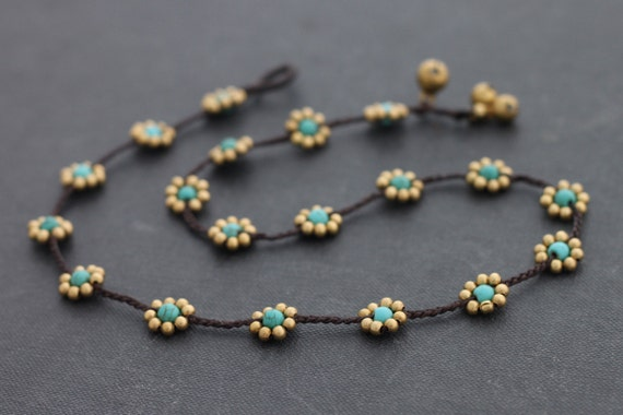 Beaded Necklaces Woven Braided Turquoise Brass