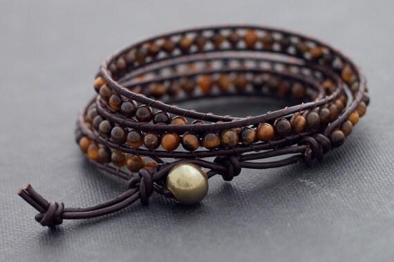 Leather Wrap Beaded Tiger Eye Bracelet