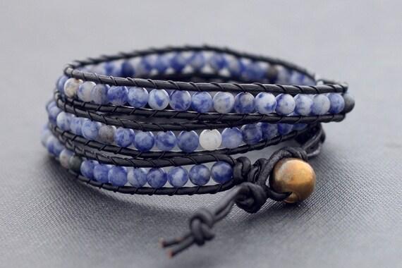 Leather Wrap Beaded Sodalite Bracelet