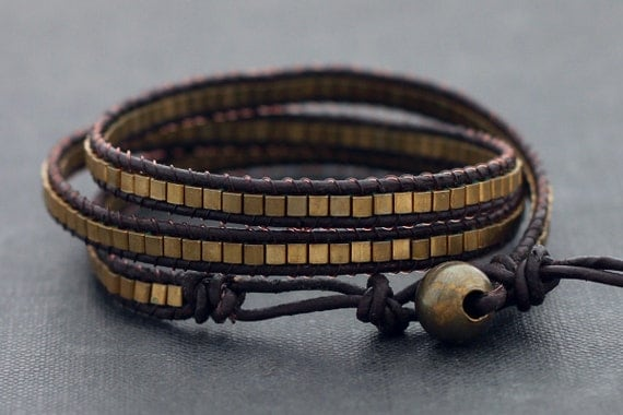 Leather Wrap Beaded Cube Brass Bracelet