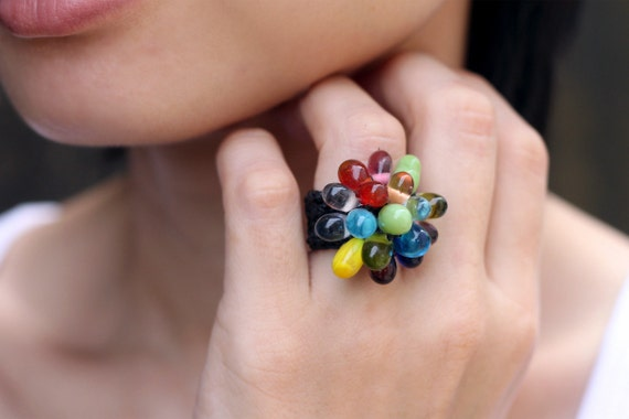 Vivid Glass Bead Knitted Ring