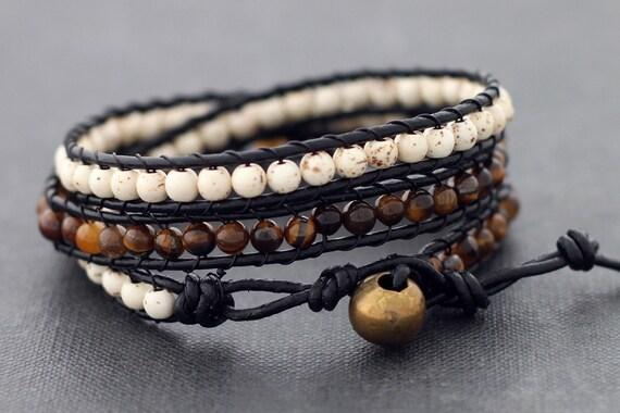 Earthy Leather Wrap Bracelet