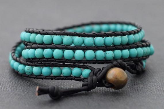 Leather Wrap Turquoise Bracelet Anklet