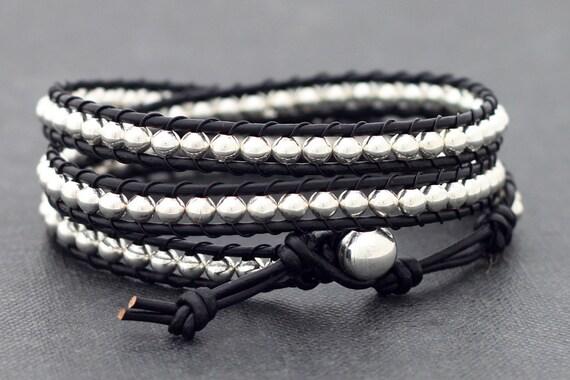 Leather Wrap Silver Black Bracelet Anklet