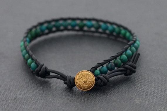Chrysocolla Leather beaded Bracelet
