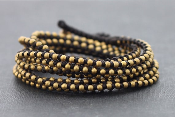 Brown Beaded Stud Wrap Bracelet