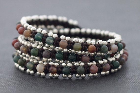 Fancy Jasper Silver Beaded Wrap Bracelet
