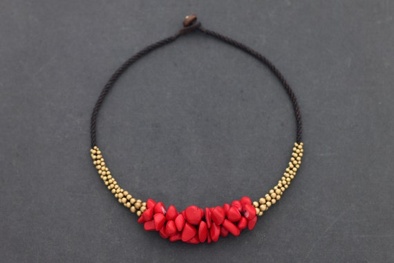 Coral Beaded Chunky Necklace