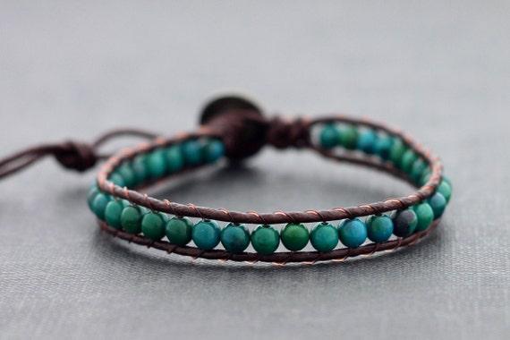 Chrysocolla Brown Leather beaded Bracelet