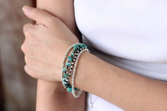 Turquoise Silver Chain Bracelet Adjustable