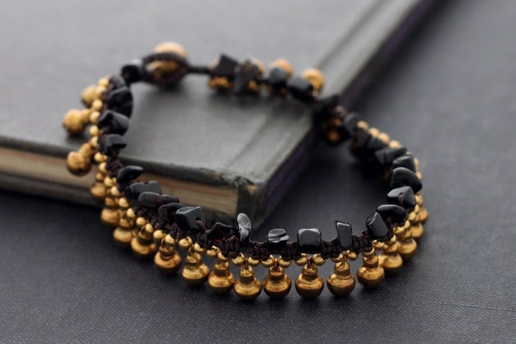 Onyx Stone Bell Drop Anklet