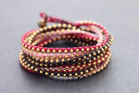 Femme Pink Stud Wrap Bracelet