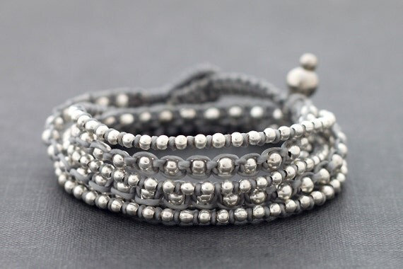 Grey Boho Rock Warp Silver Bracelet Necklace