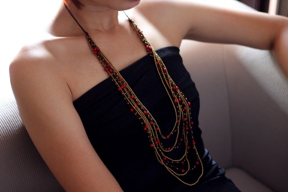 Layered Coral Woven Necklace