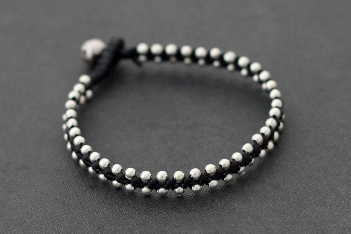 Simple Silver Beaded Bracelet