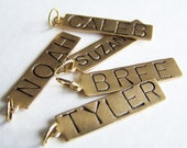 ONE Hand Stamped Name Tags Necklace Charms - Vintage Brass