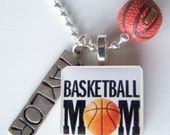 BASKETBALL MOM Scrabble Tile Pendant and Chain Only - Charms, Beads, Name Tags Extra