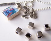 THREE Necklace SPACERS Large Hole Smooth Cube Style Antique Silver Bead Spacers