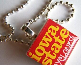 Iowa State Cyclone Scrabble Necklace