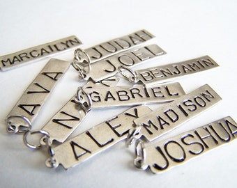 ONE Hand Stamped Name Tag Necklace Charm
