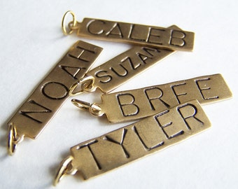 THREE Hand Stamped Name Tags Necklace Charms - Vintage Brass