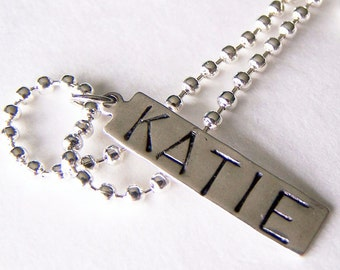 PICK ONE Hand Stamped Name Tag, Bead or Charm with a 24 inch Ball Chain Necklace
