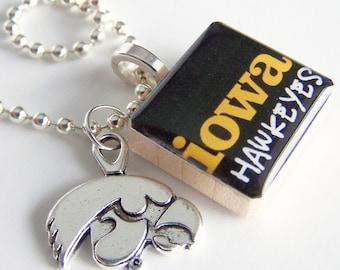 Iowa Hawkeye Scrabble Necklace with Herky the Hawk Charm