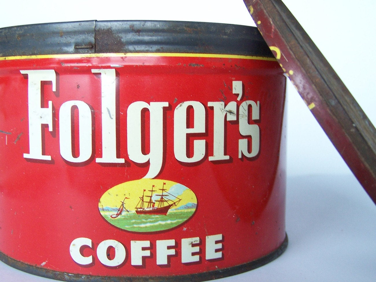 Vintage Folgers Coffee Tin With Lid Storage And