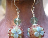 Buy the Set and take 15 100off Extra Forget me not Spring Handmade lampwork Earrings
