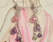 SALE  Was 22 Now  15.00 Angels Bright Briolette pair of Earrings.   Semi precious and Sterling silver
