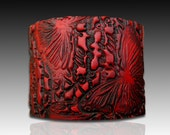 Bold red and black polymer clay cuff bracelet