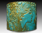 Goddess polymer clay cuff bracelet