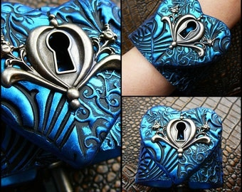 The key to my heart polymer clay cuff blacelet in blue sapphire